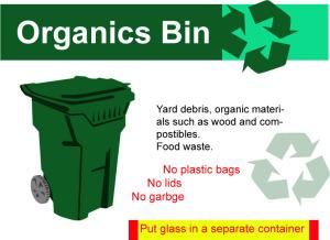 green organic debris bin